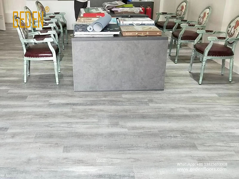 Grey And White Wood Vinyl Floor Tile For Office
